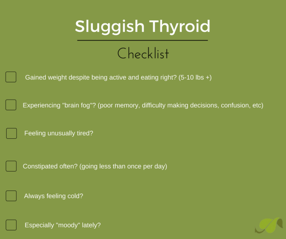 sluggish thyroid check list